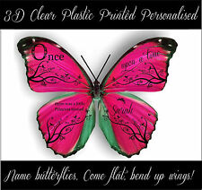 Personalised Name, 3D Acetate Plastic Butterflies, Once upon a time Princess