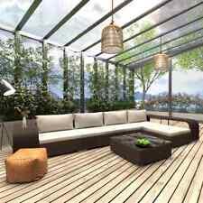 vidaXL Loungeset met Kussens 8-delig Poly Rattan Bruin Tuinset Meubelset Tuin