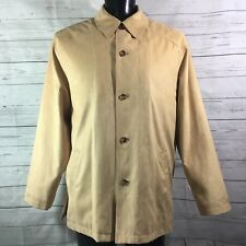 Jos A Bank Mens Tan Coat Jacket Sz L Soft Polyester Texture Lined Button Up NWT