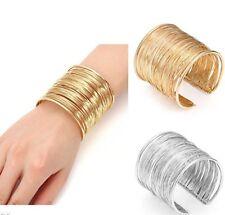 WOW! 2 PC SET!!!! Boho Multi Wire Wide Cuff Bangle Bracelet 1 GOLD + 1 SILVER!!