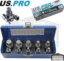 US PRO Tools 1/2dr 10pc Metric Hex Allen Bit Sockets, Socket Key Set H4-H19 1695