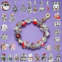 Enamel Red European Holiday Charms Bead Jewelry Fit 925 Silver Bracelets Chain