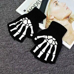 Gothic Knitted Black with White Skeleton Bones Fingerless A2U3 7Y6T Skull V1A8