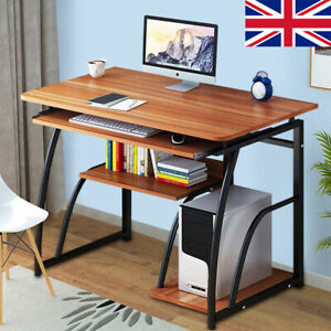 Computer Desk Study PC Writing Table Home Office Workstation Shelf Furniture UK