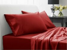 Pima Cotton - Attached Waterbed Sheet Set 1000 TC All Size Burgundy   Solid