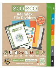 6 PART X A4 EXTRA WIDE INDEX FILE FOLDER PLASTIC SUBJECT DIVIDERS 1 TO 6 NUMBER