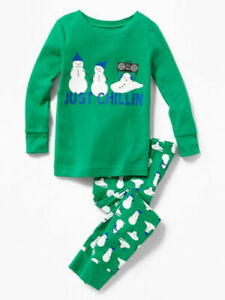NWT Old Navy Boys Pajamas Holiday Xmas Snowman just chillin 2t 2