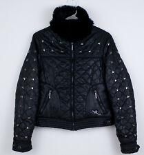 ROCAWEAR Black Puffer Jacket Women's Size Small Quilted Studded Faux Fur Collar