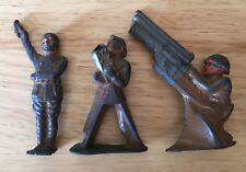 Lot Of 3 Cast Iron Manoil Soldiers Vintage