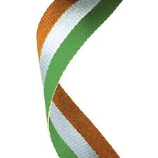 10x Medal Ribbon / Lanyard Irish Green white and Orange with Gold clip 22mm wide