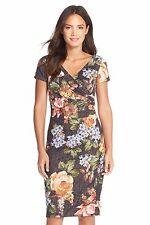 Adrianna Papell Metallic Floral Sequin Jacquard Sheath Dress US 10 sale