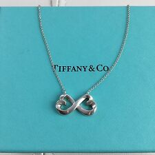 "Tiffany & Co Paloma Picasso Silver Double Loving Heart Infinity 18"" Necklace"
