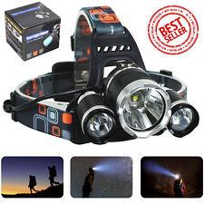 Hunting 12000LM 3LED Headlight Flashlight Torch Cree XM-L T6 Headlamp Head Light