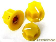 Set of 3 jazz bass guitar style 7 side yellow knobs 1 tone and 2 volume knob new