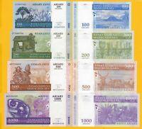 Madagascar Set 100, 200, 500, 1000 Ariary 2004 UNC Banknotes