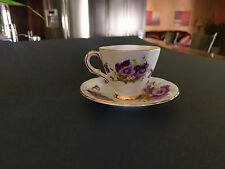 Windsor Tea Cup & Saucer, Gorgeous Purple Colors! in a Pansy & Gold Trim Pattern