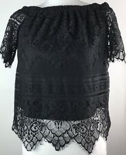 Rue 21 Women's Lace Top Low Elastic Neckline Black Lined Pullover Size Medium 10