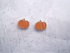 Cute PUMPKIN Tiny 9mm x 8mm ADULTS SP HALLOWEEN Stud Earrings JACK O LANTERN