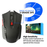 Universal 2.4Ghz Wireless Optical Gaming Mouse Mice &USB Receiver Adjustable DPI