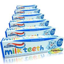 6x Aquafresh 0 Years+ MILK TEETH Baby Toothpaste 50ml