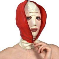 Double Masque de Latex avec Yeux & Bouche * en Blanc-Rouge * 57cm Portée Gomme