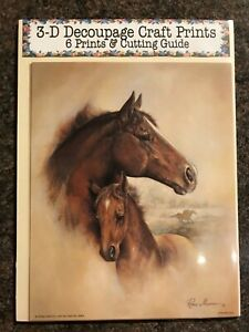 'Brown Horse and Foal' Set of 6 Prints and Cutting Guide for Decoupage