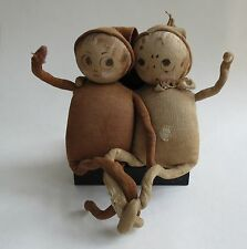 Antique Palmer Cox fabric & wire brownie dolls charming adorable too cute!