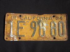 Vintage 1934 California License Plate #1E9880