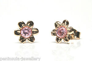 9ct Gold CZ Studs earrings Pink Flower Gift Boxed Made in UK