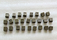 52PCS Antiqued bronze alphabet letter cube beads w/big hole #23485