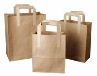 PAPER CARRIER BAGS WHITE BROWN KRAFT SOS TAKEAWAY FOOD LUNCH PARTY WITH HANDLES