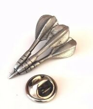 3D Set Of Darts Handcrafted From English Pewter Lapel Pin Badge
