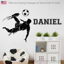 Soccer Personalized Name Wall Stickers Decal Wall Art Kids Room Decor Sports