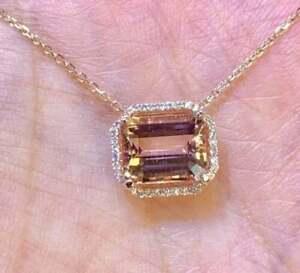 5Ct Emerald Cut Morganite & Diamond Halo Pendant With Chain 14K Rose Gold Over