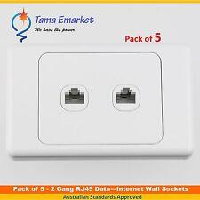 5 x 2 Gang RJ45 Data Internet Wall Socket Outlet Ethernet Network White