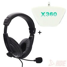 Stereo Gaming Computer Microphone Headset + Xbox 360 Headphone Converter Adapter