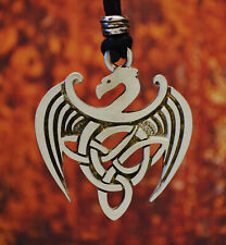 Celtic Wyvern Dragon Necklace In Fine Pewter Made in USA