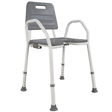 Shower Chair Seat Stool Adjustable Height Soft Backrest Bathroom Comfort Armrest
