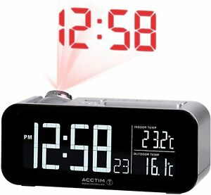 Acctim Radio Controlled Jumbo Display Projection Alarm Clock In Out Temperature