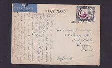 Uganda Kenya Tanganyika 1939 Airmail Postcard Fort Portal HMS Hospital to GB