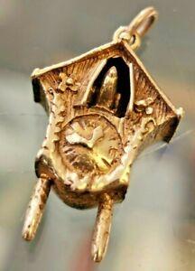 Cuckoo Clock Retro Charm. Hallmarked 9ct gold London c1972. FREE P&P #Cv