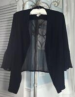 NEW ~ Plus Size 1X Black Boho Pleated Sheer Dressy  Open Cardigan Short Jacket