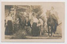 RPPC Horseback Riding Women Girls Horse Saddle Whip Oregon Americana Real Photo