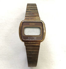 Vintage Seiko Quartz LC Digital Women's Wristwatch Gold Tone