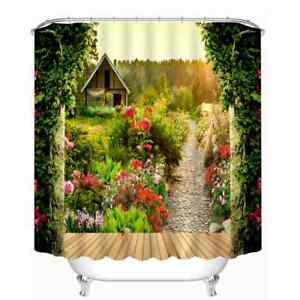 Flowers Trees And Huts 3D Shower Curtain Polyester Bathroom Decor  Waterproof