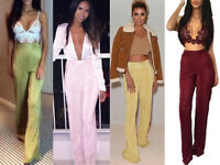 Women Pleat Pleated Foil Trousers Ladies High Waist Crinkle Turn Up Flare Pants