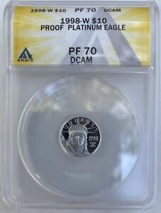1998-W $10 PLATINUM EAGLE 1/10 Oz. STATUE OF LIBERTY ANACS PF70 PROOF PR70