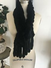 Black Natural Robbit Fur Gorgeous Neck Shawl  Made in Italy $550/Neiman Marcus