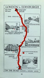 NOTTINGHAMSHIRE TUXFORD,BARNBY MOOR Original Antique Pictorial Road Map c1920