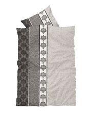 4 tlg Bettwäsche 155 x 220 cm anthrazit grau gestreift Übergröße